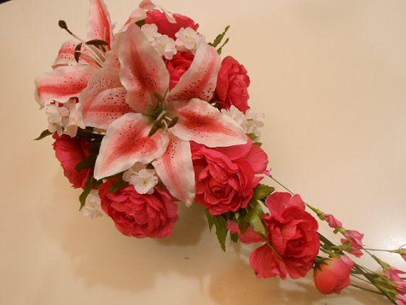 Hot Pink Stargazer Lily Cascade Bridal Bouquet. by FantasyWedding