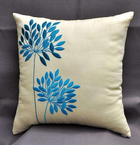 Yellow Pillow Cover, Decorative Throw Pillow Cover 18x18, Teal Flowers Embroidery on Light Yellow Linen, Accent Pillow Yellow, Teal Cushion. $23.00, via Etsy.