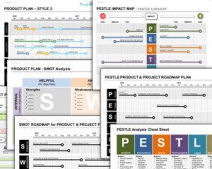 Product Plan Template: Roadmaps, SWOT & PESTLE (Powerpoint)