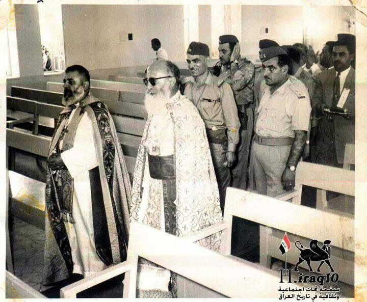 Mar Yosip with Abdul Kareem (a Muslim president) walking behind him. A time where there was so much peace between muslims and Christians that they visited each others holy places as a sign of love
