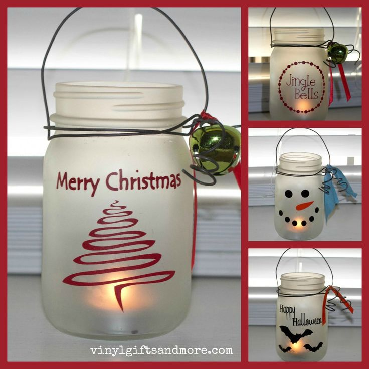 Mason Jar Craft - vinyl pieces.  Easy and very cute and totally customizable!