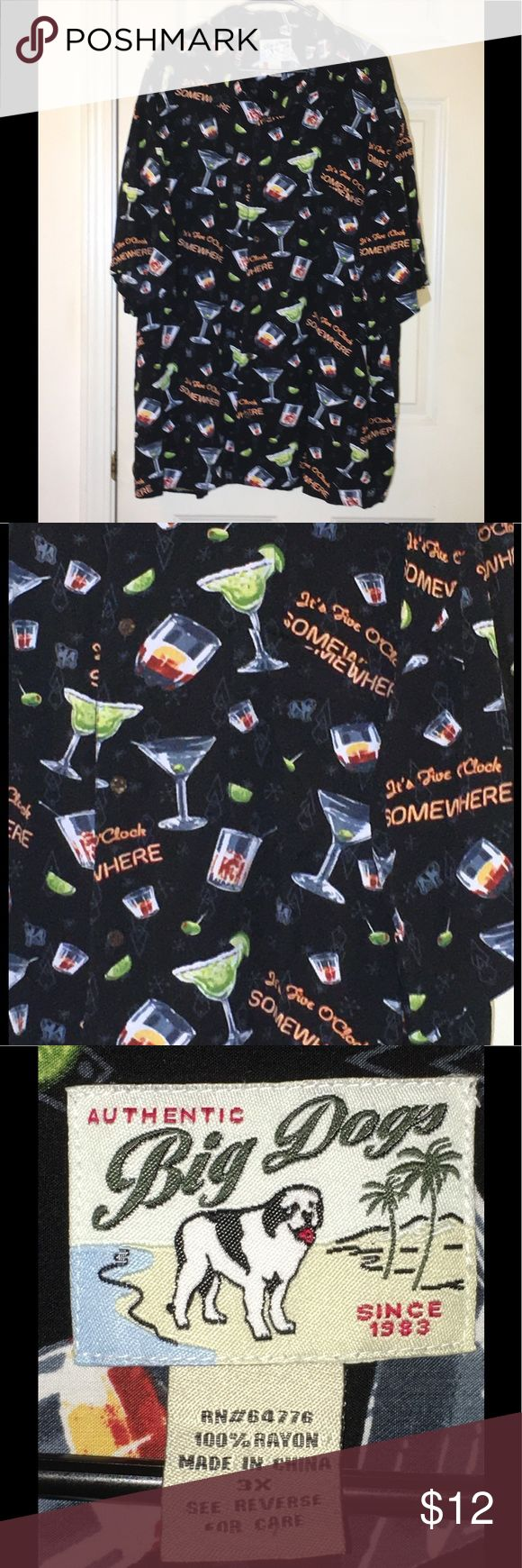 Big Dog 3X Drink Theme Button Down Top Men's casual button down top.  Black with drink theme.  It's 5 o'clock somewhere.  Size 3X. Great condition.  Important:   All items are freshly laundered as applicable prior to shipping (new items and shoes excluded).  Not all my items are from pet/smoke free homes.  Price is reduced to reflect this!   Thank you for looking! Big Dog Shirts Casual Button Down Shirts