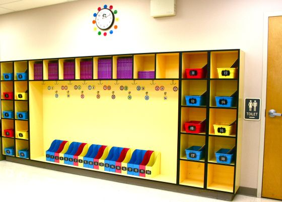 Organized student cubbies and Daily 5 book bins