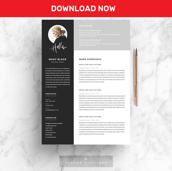 5 page Resume Template | Blackie by The.Resume.Boutique on @mywpthemes_xyz