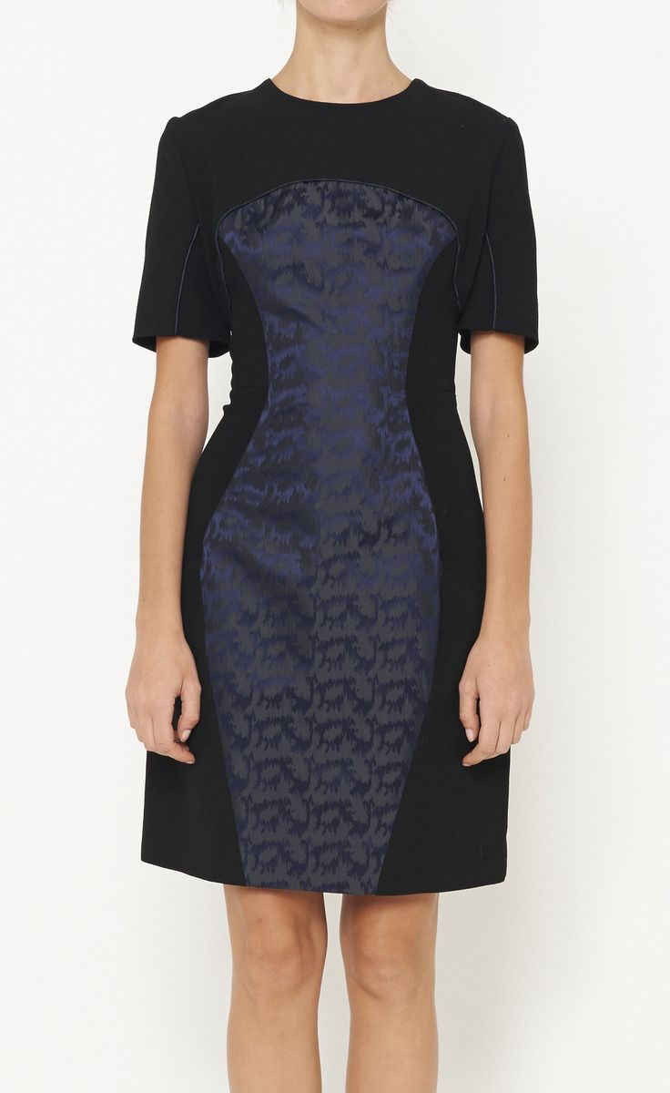 Black And Metallic Navy Dress