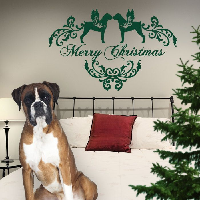 Christmas Dog Wall Decal Boxer, Dogs Angels - Good for Walls, Cars, Ipads, Mirrors Etc by PSIAKREW on Etsy
