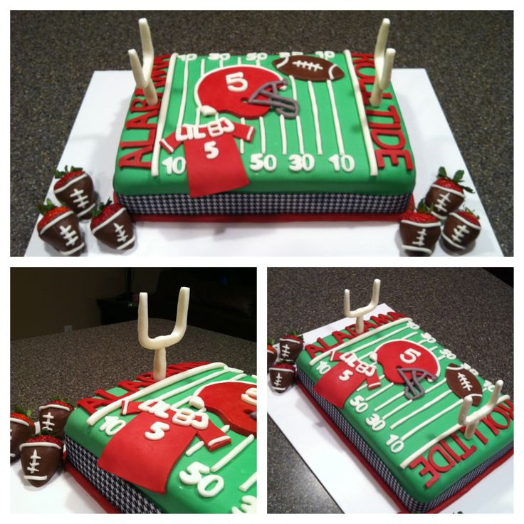 Alabama football field cake with chocolate covered strawberry footballs