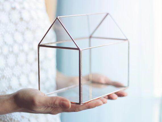NEW! Glass House / Handmade Glass Terrarium / Modern Planter for Indoor Gardening / Jewelry Box / Geometric Glass House / Stained Glass Box