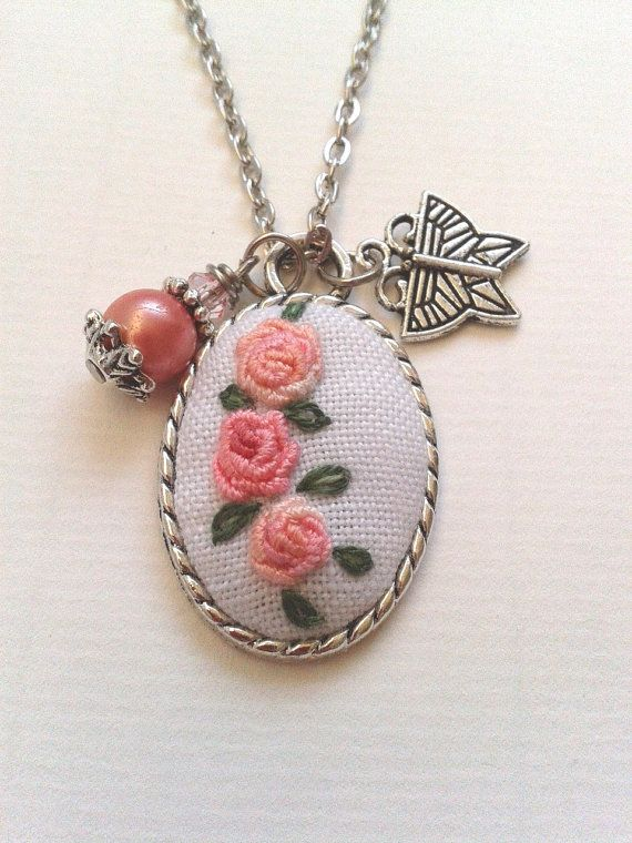 Shabby blush rose hand embroidered pendant necklace