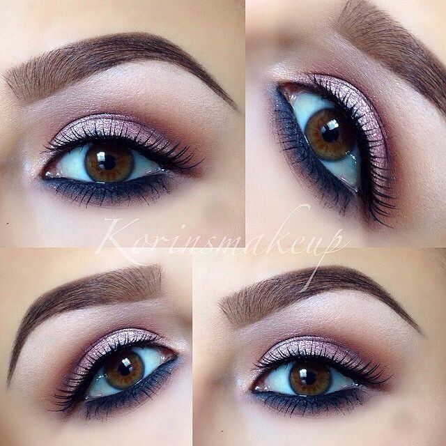 ♡ Rose gold shadow. Dark shadow on bottom. Love this brown eye makeup look. Looks like colors from the Naked 3 palette.