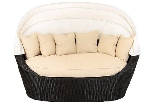 Black Resin Wicker Outdoor Patio Cabana Daybed with Canopy – Beige Cushions Reviews