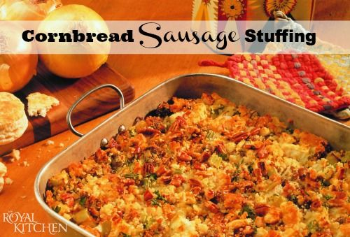 Cornbread Sausage Stuffing Recipe with Apples and Pecans.