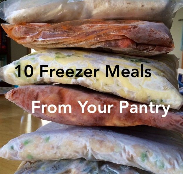 10 Freezer Meals from your Pantry GREAT list of simple recipes you can make without shopping. Wonderful for when you unexpectedly need to make a meal for a new mom, sick friend or shut in, or for when money is tight.
