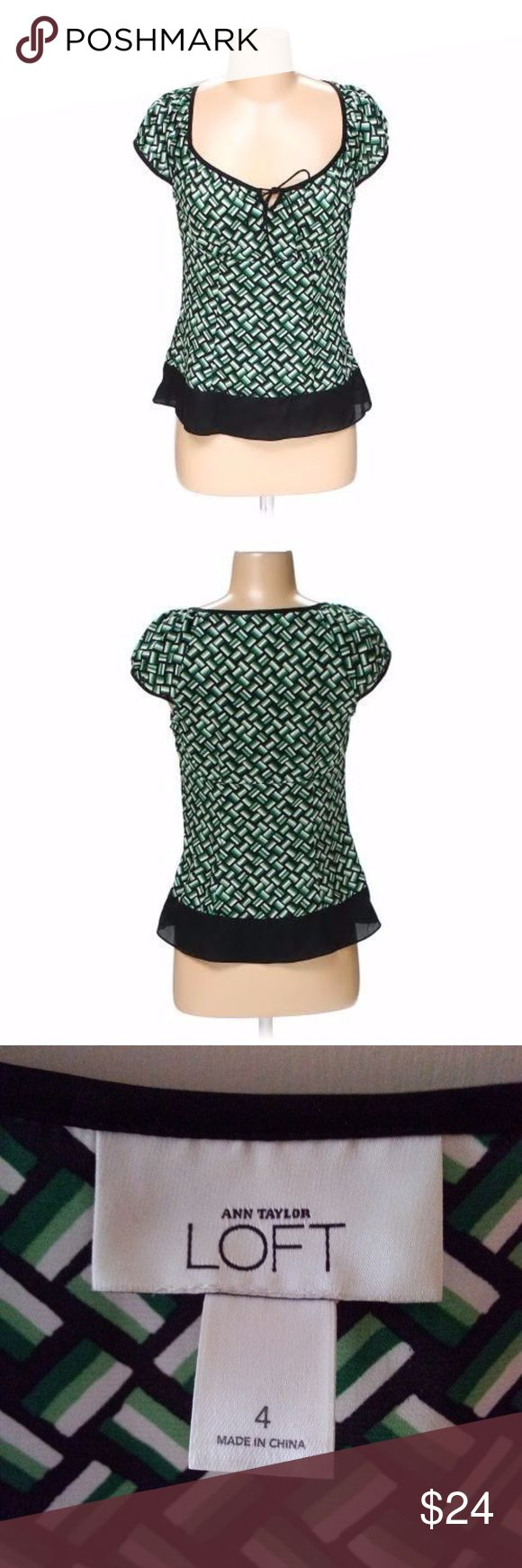 Anne Taylor Green Black Blouse Top Shirt Womens Women's Ann Taylor Loft Size 4 Blouse / Top / Shirt. Geometric design with colors of Black / Green/ and White. Has short sleeves with EUC Side zipper. Nice sheer black rim around the bottom of shirt. Excellent condition. Pre-owned, with no visible signs of wear. Anne Taylor Loft Tops Blouses