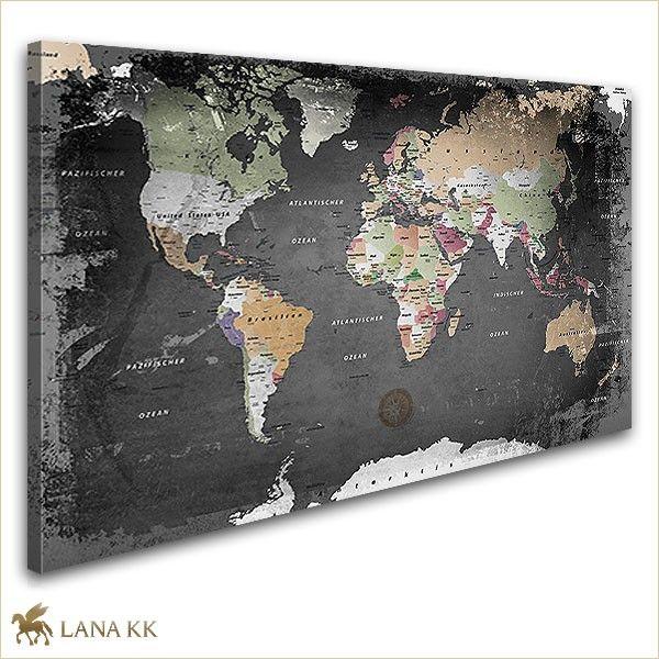 Weltkarte Graphit