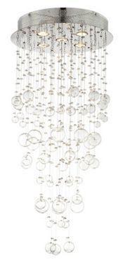 Chrome and Glass Spheres Modern Halogen Ceiling Light