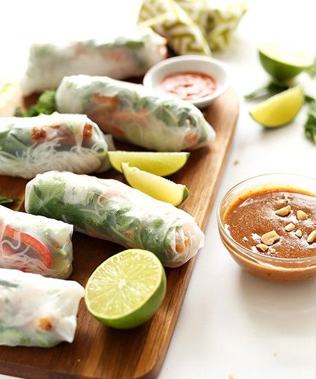 This is my kind of soul food.  The kind that's fresh, filling, loaded with flavor, and doesn't make you feel like crap afterwards. Now that's (healthy) living.  My cookbook features spring roll recipes, but none of those versions has such an abundance of flavorful components and fresh herbs