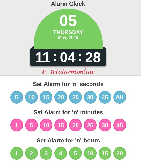You can set alarm in your desktop using this free online alarm clock to wake you up. Here, timings are designed to set alarm for seconds, minutes and hours for your convenience.     -------- Original Message --------