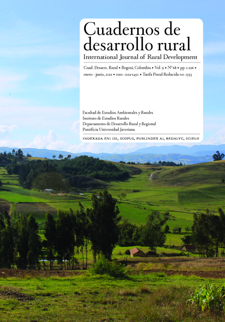 Vol 9, No 68 (2012): Cuadernos de Desarrollo Rural