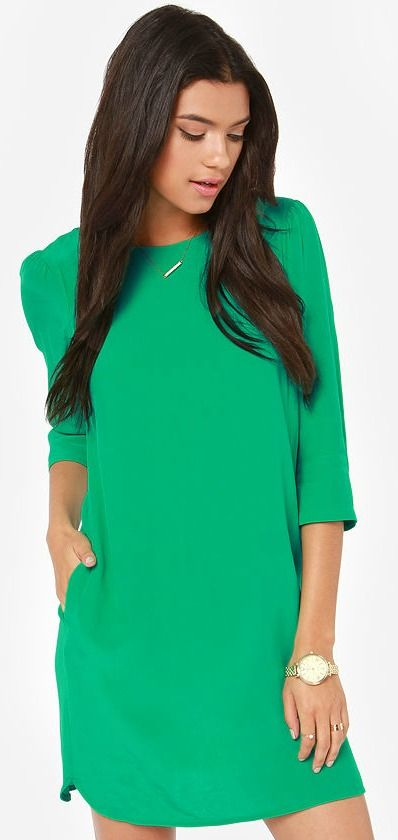 Kelly Green Shift Dress