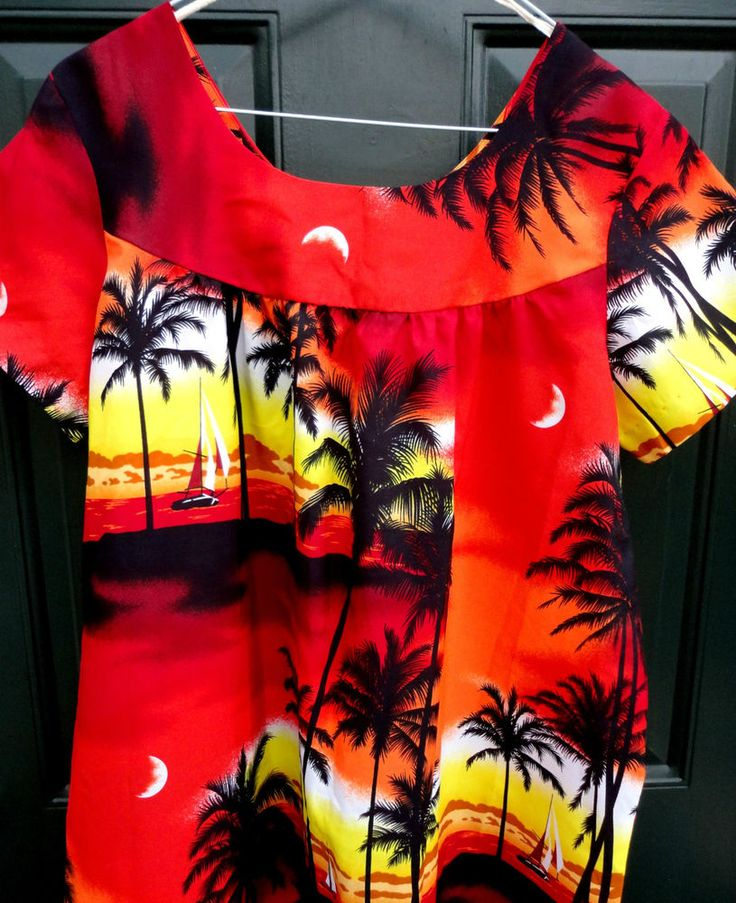 #MuuMuu Dress size 14 Sahibs Hawaii 1980s Sunset Seaside Palms Boats Ethnic #SahibsofHawaii #Hawaiian #Casual