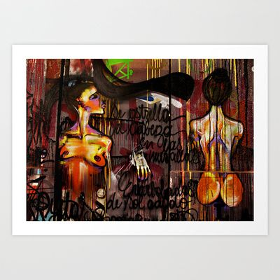 Wall Art Females Art Print by LinnB - Available as print, laptop skin and phone case.