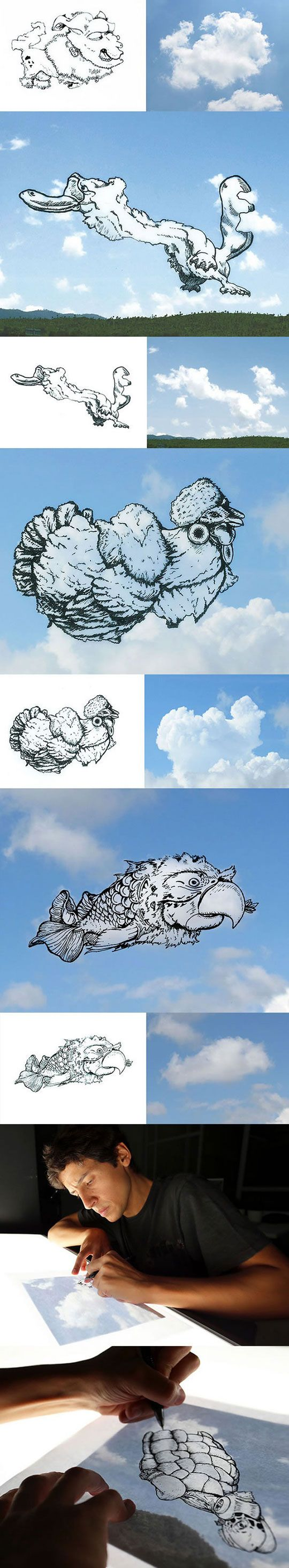 Artist Turns Clouds Into Illustrations ~ Love This Guy, So Awesome!