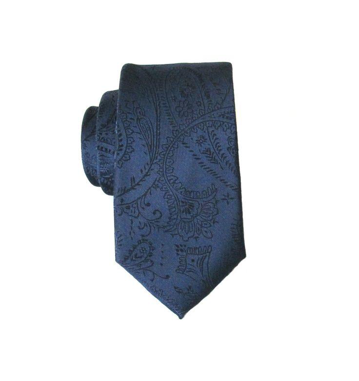 Blue Paisley Tie. Mens Tie. Dark Navy Blue Paisley Mens Skinny Necktie Pocket Square Optional by TieObsessed on Etsy https://www.etsy.com/listing/205343801/blue-paisley-tie-mens-tie-dark-navy-blue