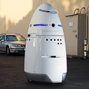 The K5 security robot.  Knightscope's Autonomous Robots Will Take on Security Jobs Normally Held by Humans   MIT Technology Review