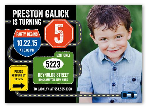 Traffic Signs 5x7 Invitation Card | Birthday Invitations