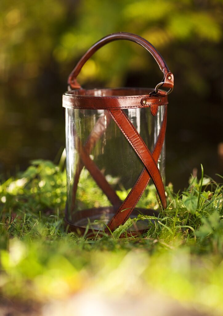 Balmuir Kensington glass/leather lantern for August nights. Available at www.balmuir.com/shop