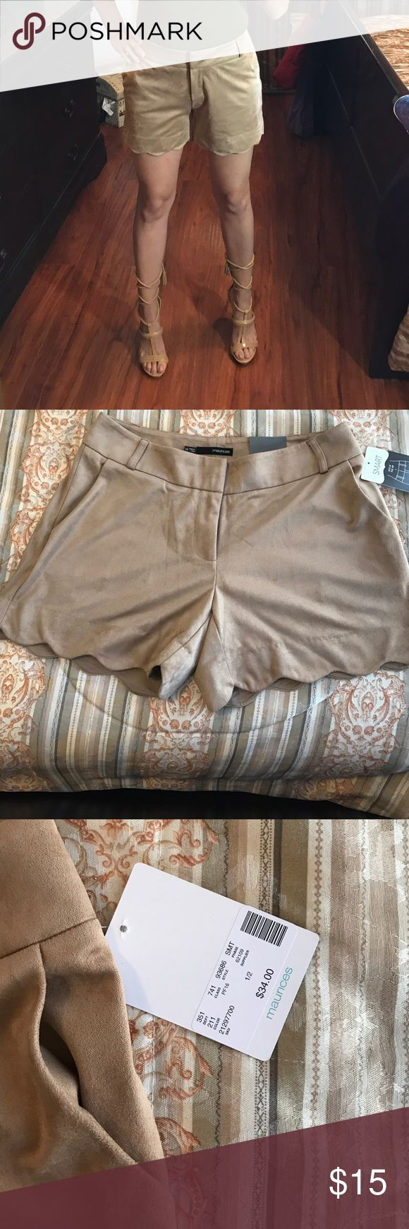 Scalloped shorts Adorable soft nude shorts! New with tags. maurices Shorts