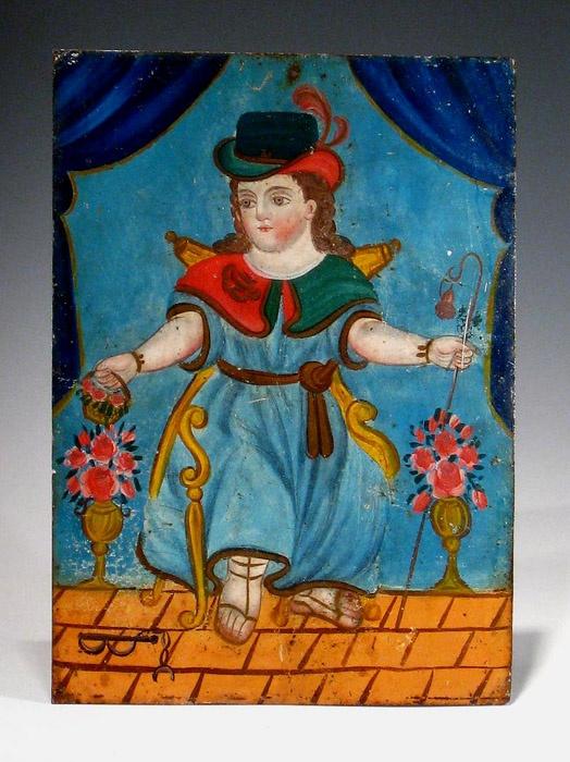 """El Niño de Atocha"" -reverse glass painting http://www.pinterest.com/carlacanonica/art-reverse-glass-paintings/"