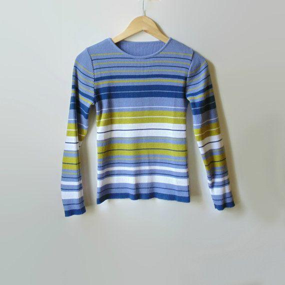 Lavender Stripes Ribbing T Shirt Vintage Tee Long by branda