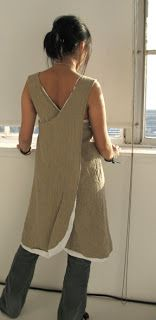 FUNctional to wear as an apron or dress from http://svetadresher.blogspot.com/2007/04/apron-dress-linencotton.html ***BONUS***Secret pattern for child/adult with tutorial: http://www.japanesesewingbooks.com/2013/01/29/free-pattern-tutorial-and-sewing-video-cross-back-apron-for-adult-and-kids/