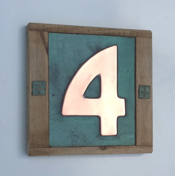 """Arts and Crafts Style Wood and Copper House number with real patina,  1 x 3""""/75mm or 4""""/100mm (Bala font), polished and laquered"""