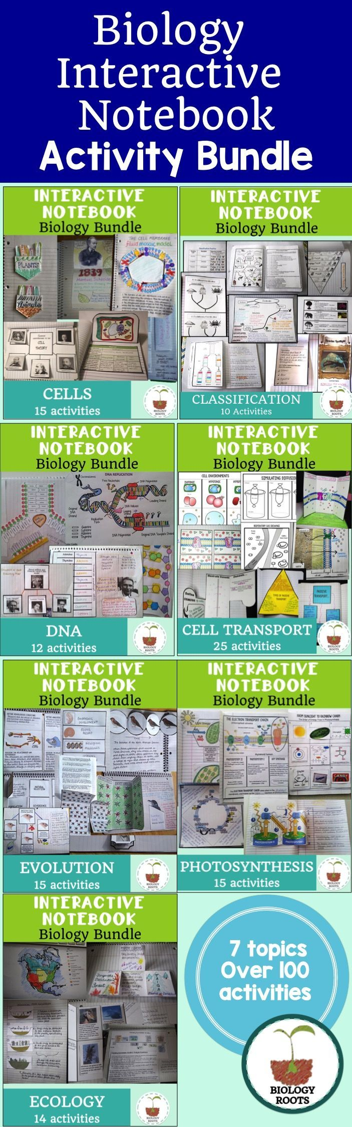Biology Interactive Notebook Bundle- Over 100+ activities for your biology class interactive notebook. INB topics include evolution, ecology, cells, cell transport, photosynthesis and DNA.