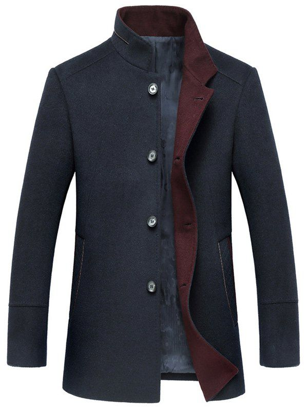 Elegant Stand Collar Single Breasted Wool Overcoat For Men