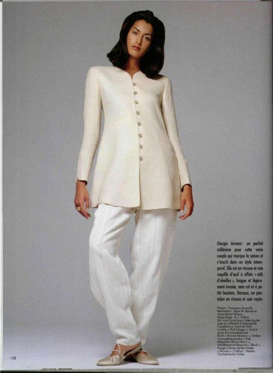 Yasmeen Ghauri wearing Giorgio Armani, Photography by Francesco Scavullo, May 1994
