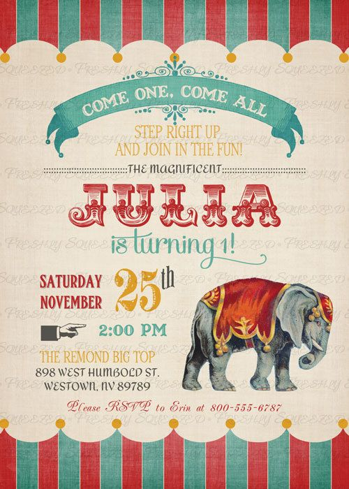 Vintage Circus Birthday Invitation Circus by freshlysqueezedcards