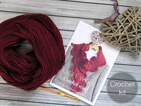 CROCHET KIT  Lacy scarf  beginner crochet lace scarf
