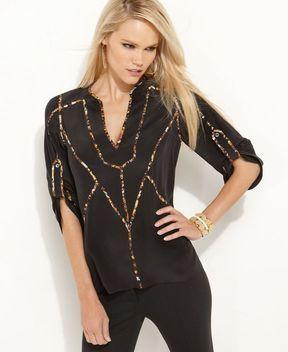 shopstyle.com: BCBGMAXAZRIA Top, Rolled Sleeve Silk