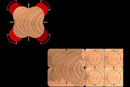 MESA COMEDOR 4X4-CERO DESPERDICIO-1 HOJA DE TRIPLAY DE 122X244CM-(mesa+4 sillas)