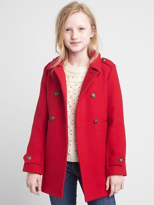 506b254cb02c Gap Girls Double-Face Wool Peacoat Modern Red