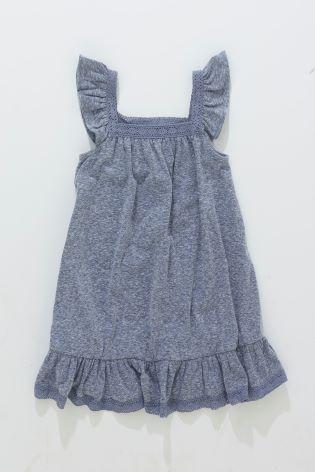 Синий шамбре Платье с оборками (3 мес.-6 лет)