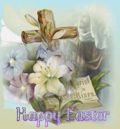 Happy Easter Christ is Risen religious easter flowers prayer cross spiritual sparkle happy easter easter blessing