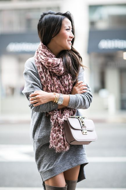 Comfy Bundled :: Sweater dress & Pink leopard :: Outfit :: Sweater dress :: Glamorous via Nordstrom Bag :: Valentino Shoes :: Capodarte Accessories :: Louis Vuitton scarf, Michele watch, Brandy Pham bracelets, Wanderlust + Co ring Published: February 1, 2015