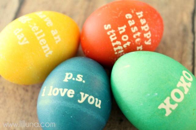 Cute idea!: Messages Eggs, Decor Ideas, Lunches Note Eggs 2, Cute Ideas, Easter Spr, Lunch Notes, Lunches Boxes, Easter Eggs, Easter Ideas