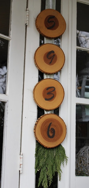 Itsy Bits and Pieces: House Number on slices of a log