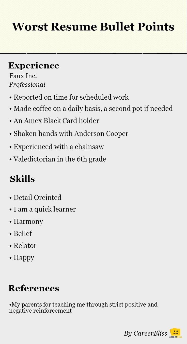 Points On A Resume - Experts' opinions